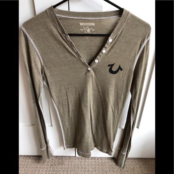 True Religion Tops - Long sleeve Henley T-shirt